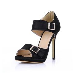 шелка как атласное Высокий тонкий каблук Сандалии Платформа Открытый мыс с пряжка обувь