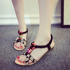 Kvinnor Konstläder Kilklack Sandaler Peep Toe Slingbacks med Beading Andra Elastiskt band skor