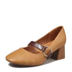 Vrouwen Kunstleer Chunky Heel Pumps met Gesp schoenen
