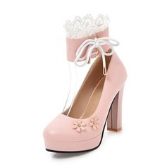 Women's PU Chunky Heel Pumps Platform Closed Toe With Applique shoes