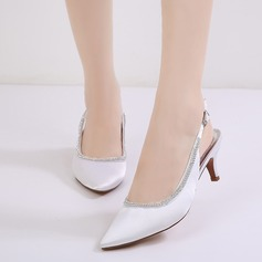 Mulheres como o cetim de seda Salto agulha Fechados Bombas Sandálias Sapatos abertos com Fivela Strass