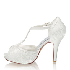 Women's Silk Like Satin Stiletto Heel Peep Toe Platform Pumps With Crystal Others