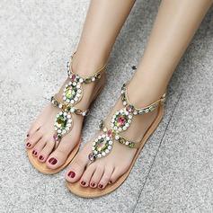 Женщины кожа Плоский каблук Сандалии Открытый мыс Босоножки с горный хрусталь заклепки обувь (087124377)