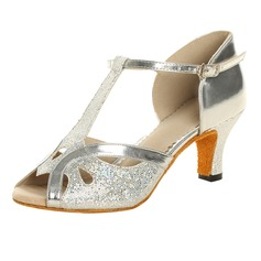Women's Sparkling Glitter Patent Leather Heels Sandals Latin With T-Strap Dance Shoes (053021494)