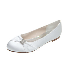 Women's Satin Flat Heel Closed Toe Flats With Bowknot Rhinestone (047113561)