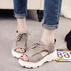 Women's Suede Wedge Heel Sandals Pumps Platform Wedges With Lace-up shoes