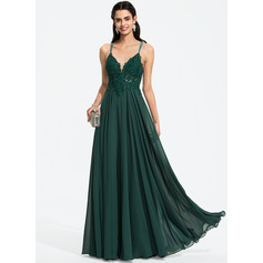 A-Line V-neck Floor-Length Chiffon Evening Dress With Beading Sequins (017208798)