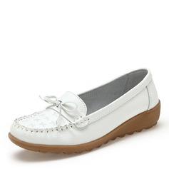 Kvinner Lær Lav Hæl Flate sko Lukket Tå med Bowknot sko