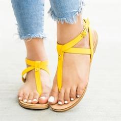Женщины PU Плоский каблук Сандалии На плокой подошве Открытый мыс с пряжка обувь
