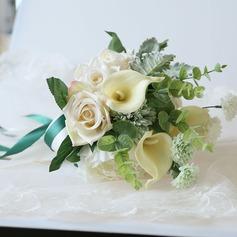 Atado a mano Flores Artificiales Ramos de novia (vendido en una sola pieza) - Ramos de novia