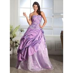Balo Elbisesi Kalp Kesimli Uzun Etekli Taffeta Organza Quinceanera (15 Yaş) Elbisesi Ile Büzgü Boncuklama Aplike Çiçek(ler)
