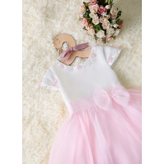 A-Line Tea-length Flower Girl Dress - Organza/Satin Short Sleeves Scoop Neck With Beading/Flower(s)
