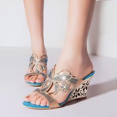 Kvinnor Konstläder Kilklack Sandaler med Strass Ihåliga ut skor