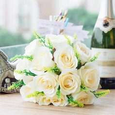 Gorgeous/White Round Satin Bridal Bouquets (123031417)
