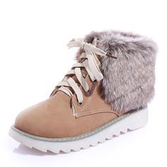 Kvinnor Konstläder Låg Klack Boots med Bandage skor