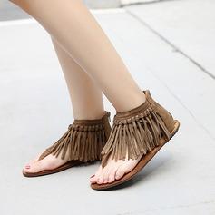 Женщины Замша Плоский каблук Сандалии с кисточкой обувь