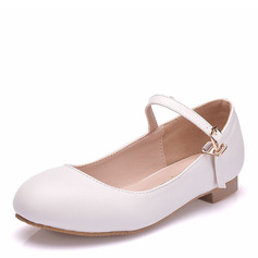 Girl's Round Toe Closed Toe Mary Jane Leatherette Flats With Buckle