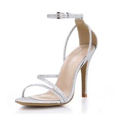 Mulheres Espumante Glitter Salto agulha Sandálias sapatos (087072657)
