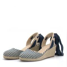 Frauen Samt Keil Absatz Sandalen Absatzschuhe Keile mit Zuschnüren Schuhe