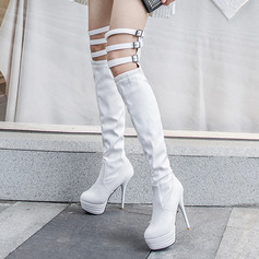Vrouwen Kunstleer Stiletto Heel Pumps Plateau Laarzen Over De Knie Laarzen met Gesp Hol-out schoenen