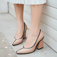 Women's Real Leather Chunky Heel Pumps Closed Toe With Split Joint shoes (085124476)