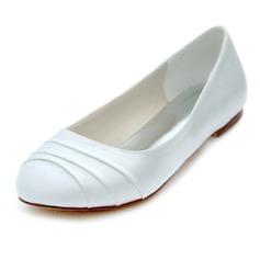 Femmes Soie comme du satin Talon plat Bout fermé Chaussures plates