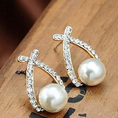 Schöne Legierung Strasssteine mit Nachahmungen von Perlen Damen Art-Ohrringe