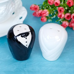 Bride & Groom Ceramic Salt & Pepper Shakers With Ribbons/Tag  (051005574)