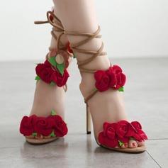 Femmes Suède Talon stiletto Sandales Escarpins À bout ouvert avec Fleur en satin Dentelle chaussures