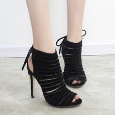 De mujer Ante Tacón stilettos Botas Encaje Solo correa Botas al tobillo con Cordones zapatos