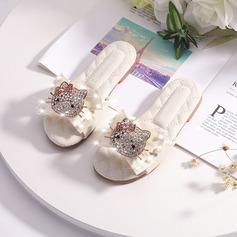 Girl's Peep Toe Microfiber leer Slippers Bloemenmeisje schoenen (207216293)