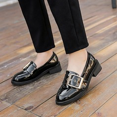Women's Patent Leather Flat Heel Flats Pumps With Buckle shoes