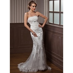 Trumpet/Mermaid Strapless Court Train Charmeuse Tulle Wedding Dress With Ruffle Appliques Lace Crystal Brooch