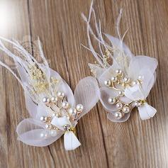 Beau De faux pearl/Feather Fleurs et plumes (Lot de 2)