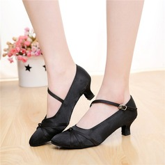 Mulheres Cetim Bombas Salão de Baile com Fivela Sapatos de dança
