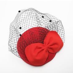 Senhoras Lindo Verão/Inverno Fio rede/Veludo com bowknot Fascinators