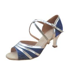 Women's Leatherette Patent Leather Heels Sandals Latin Dance Shoes