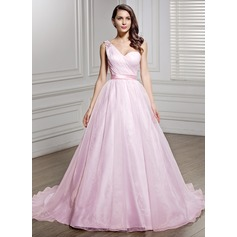 A-Line/Princess One-Shoulder Court Train Organza Wedding Dress With Ruffle Beading Sequins Bow(s)