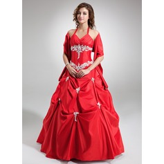 Ball-Gown V-neck Floor-Length Taffeta Quinceanera Dress With Ruffle Beading Appliques Lace Sequins