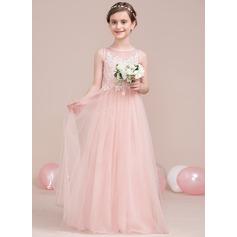 A-Linie/Princess-Linie U-Ausschnitt Bodenlang Tüll Kleid für junge Brautjungfern mit Perlstickerei Pailletten (009106846)