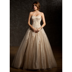 Ball-Gown Sweetheart Floor-Length Tulle Prom Dress With Ruffle Beading Appliques Lace Sequins (018112897)