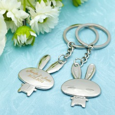 "Personalized ""Cartoon Rabbit"" Stainless Steel Keychains (Set of 4 Pairs)"