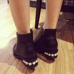 Frauen PU Flascher Absatz Flache Schuhe Stiefelette mit Nachahmungen von Perlen Reißverschluss Schuhe