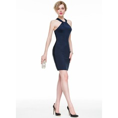Tubo Decote redondo Curto/Mini Jersey Vestido de cocktail com Pregueado