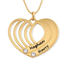 Christmas Gifts For Her - Custom 18k Gold Plated Two Name Necklace Birthstone Necklace Engraved Necklace (288209260)