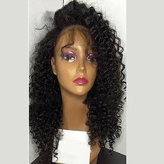4A Ej remy Kinky Curly Mänskligt hår Lace Front Parykar