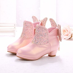 Girl's Leatherette Flat Heel Closed Toe Boots With Bowknot Zipper