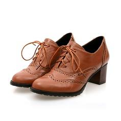 De mujer Cuero Tacón ancho Cerrados con Cordones Agujereado zapatos