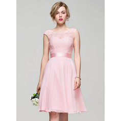A-Line/Princess Scoop Neck Knee-Length Cocktail Dress With Bow(s) (016110548)