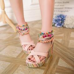 Vrouwen Kunstleer Wedge Heel Pumps Wedges met Kralen schoenen